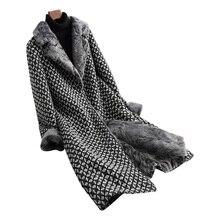 Натуральный мех пальто элегантная женская одежда 2018 зимнее пальто женский, Черный Длинные Корейская шерстяная куртка из овечьей шерсти Меховая подкладка Для женщин топы ZT292