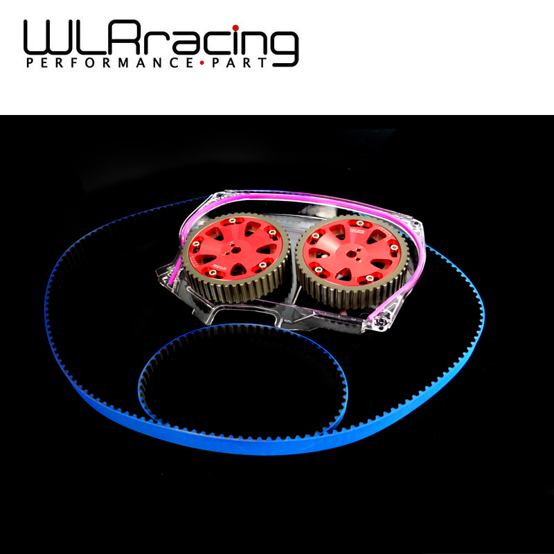 WLRING STORE- HNBR Racing Timing Belt + Aluminum Cam Gear + Clear Cam Cover For Mitsubishi Lancer Evolution EVO 9 IX Mivec 4G63 гидрокомпенсаторы на двигатель mitsubishi 4g63 купить