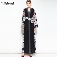 2018 3XL Plus Large Size Autumn Loose Women Print Long Maxi Runways Split Sashes Robe Dress