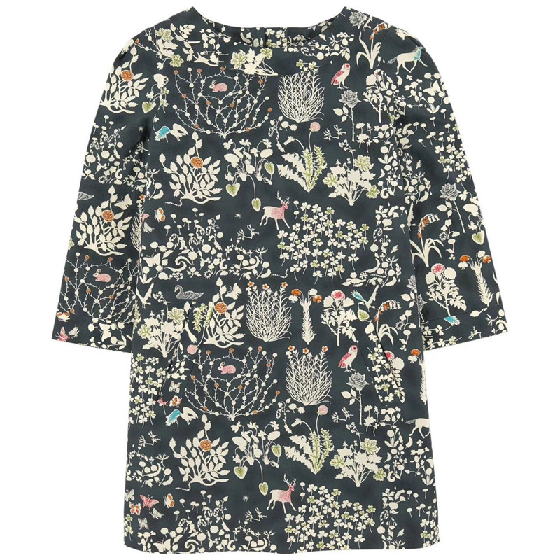 2017 New Baby Dress Pattern Long Sleeve Fashion Autumn O-Neck Pullover Cotton Girls Dress Floral A-Line European Style Dress 2016 new autumn girls costume european&american style kids dress for girls fashion lace floral child long sleeve dress