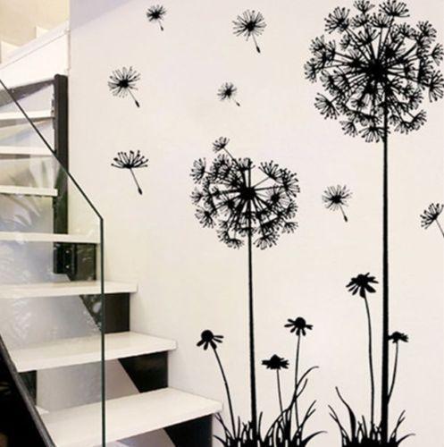 Горячая черная Одуванчик гостиная спальня настенные наклейки бытовые украшения настенные наклейки на стену