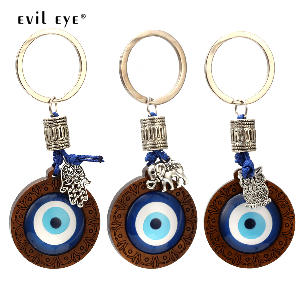 EVIL EYE Key Chain Wood Blue Turkish Eye Pendant Hamsa Hand Elephant Owl Charm Keychain Fashion Jewelry For Women Men EY6296