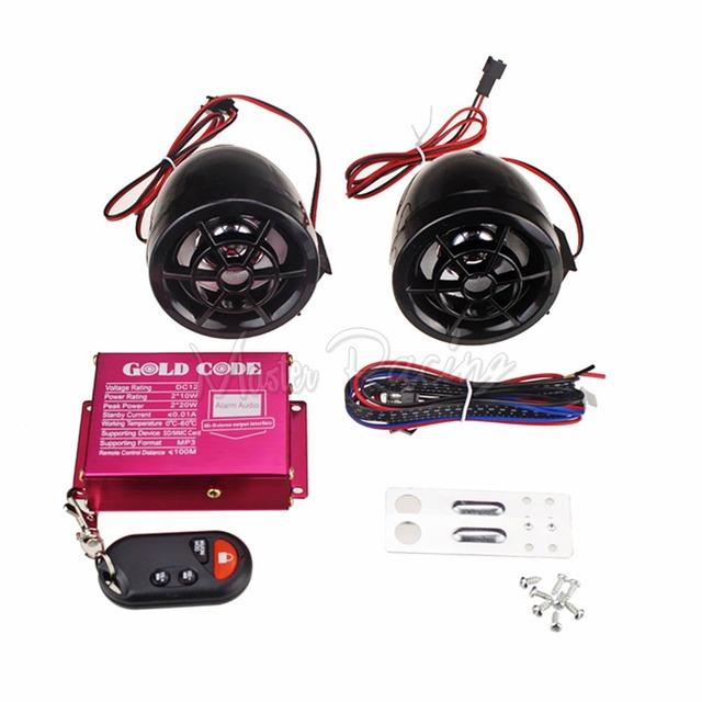 Preto Motocicleta Áudio Rádio FM USB SD Orador Sistemas de Alarme Anti-roubo de Moto MP3 Player de Áudio Digital + Anti-Tipo de roubo