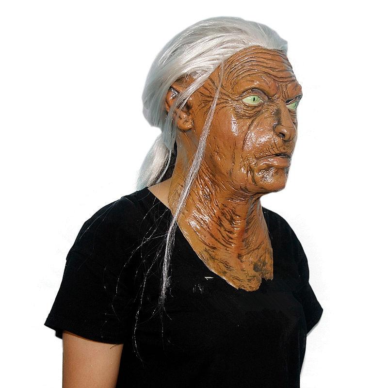 halloween mask scary masks maske deluxe latex old women mask mascaras de latex realista white hair