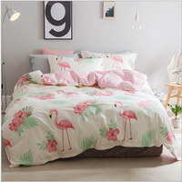 Home Textile Pink Flamingo Bedding Set 100 Cotton King Queen Size Duvet Cover Bed Sheet Leaf