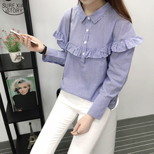 2017 The New Women's Clothing Autumn Han Edition Lapel Agaric Edge Stitching Striped Turtleneck Long-sleeved Shirt 327G 25
