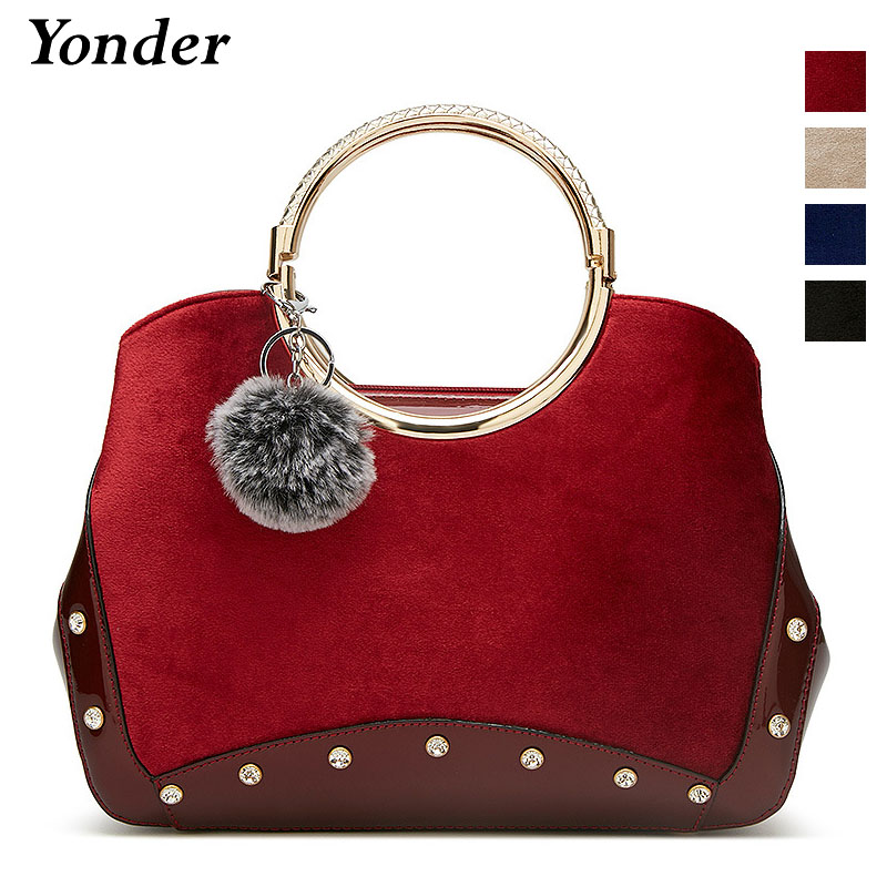 Yonder fashion women velour leather handbag female shoulder messenger bag ladies top handle tote bag Black