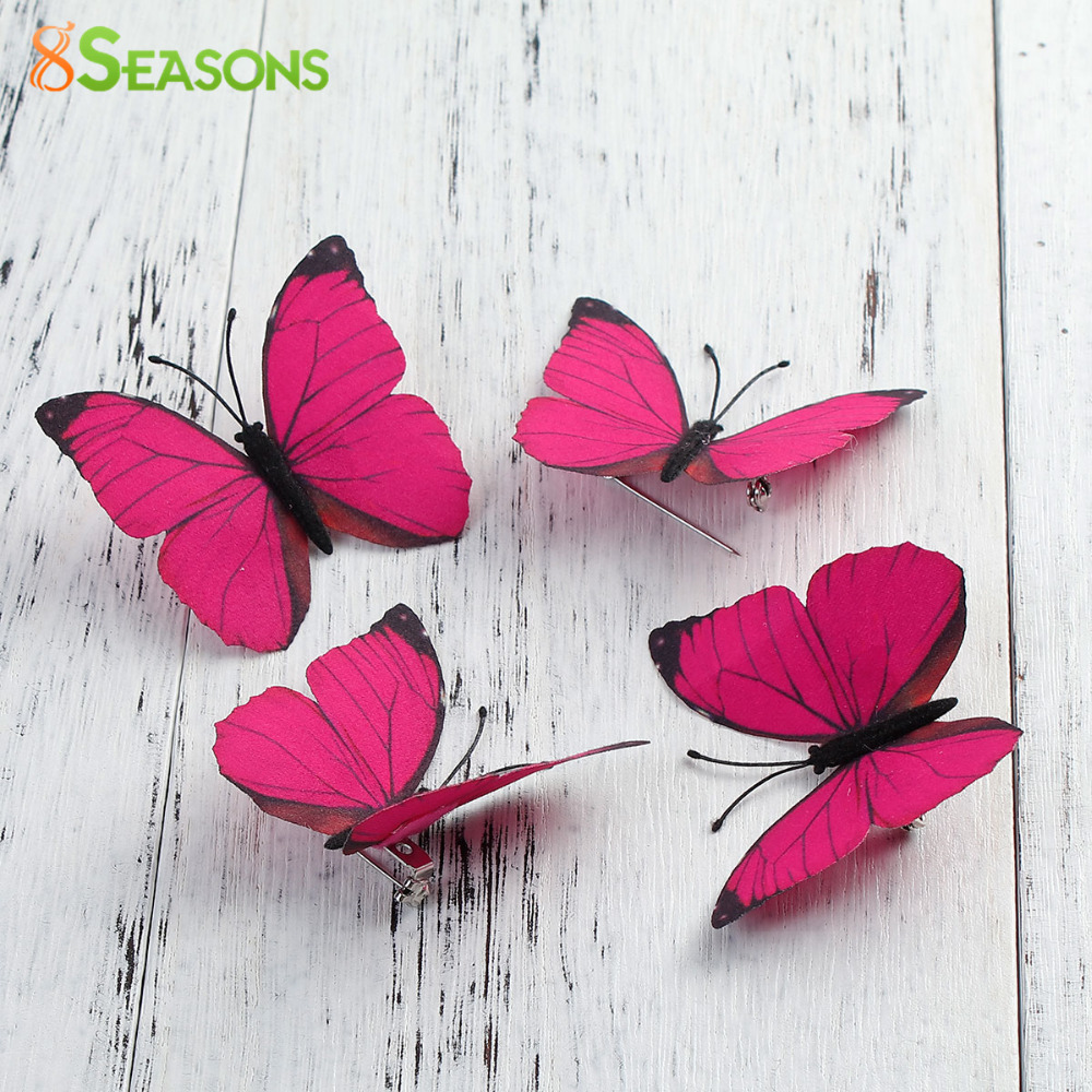 8SEASONS 1PC Brooch Fabric Ethereal Butterfly Brooches Pins Badges Clothes Hair Bags Decoration Accessories Fuchsia / Blue 6x5cm