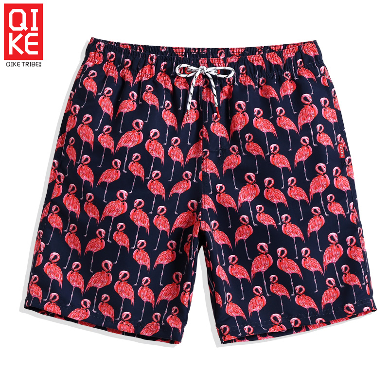 Summer Men's Swimming trunks Swimsuit Flamingo quick dry surfing liner   board     shorts   briefs cartoon swimwear mesh