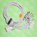 Compatible with Nihon Kohden,Fukuda Cardisuny  EKG 10 lead,One-piece cable and leadwires,15 PIN,4.0 red  banana,IEC or AHA.