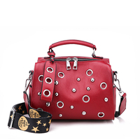 2019 New Brand Real leather Boston Women Handbag Casual Pillow hobos shoulder Bag Zipper Pockets Rivets Wide Strap Crossbody bag