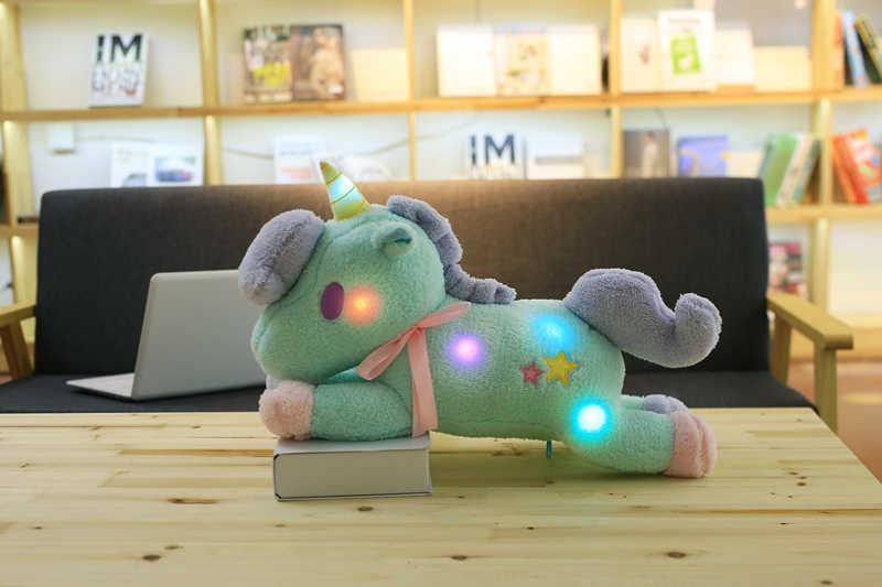 O novo 55 cm grande super fofo luz colorida luz Unicórnio brinquedo de pelúcia travesseiro de Decoração Para Casa decoração de escritório travesseiro para dormir