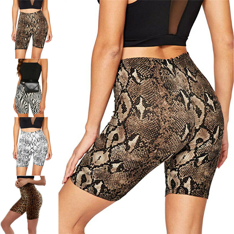 New Summer Women Slim Shorts Snakeskin Leopard Zebra-Stripe High Waist Stretchy Biker Shorts Women Sexy Fit Sport Short Trousers