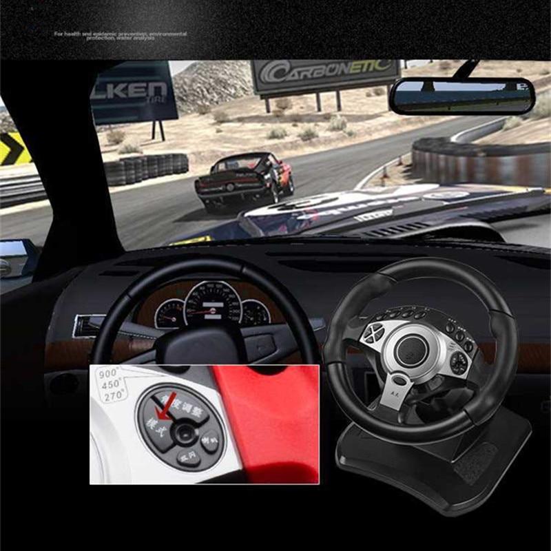 900 degrés jeux de course volant ordinateur apprentissage voiture simulation machine de conduite accélérateur frein levier de vitesse ensemble complet - 6