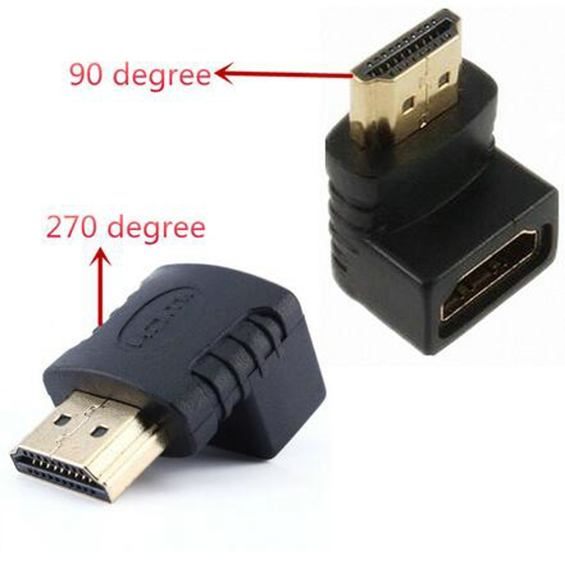 Dehyaton HDMI Cable Adapter 270/90 Degree Angle HDMI Male To HDMI Female For 1080P HDTV Cable Adaptor Converter Extender