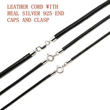 925 Sterling Silver Connectors and Clasps with real black Leather Cord Male Cord Chains for Men Woman rope thread necklace(China)