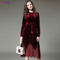 HANZANGL New 2017 Autumn Winter Evening Party Dresses Velvet Lace Dress Women Vintage Elegant Sexy Long
