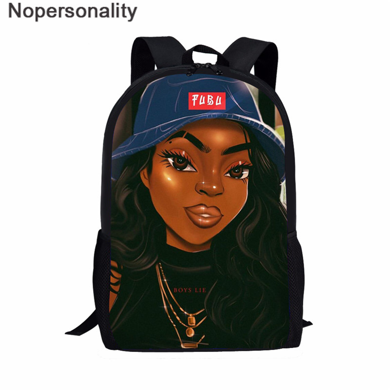 Nopersonality Black Art Afro Girl Print African Backpack For School Teenage Girls Book Bags Toddler Schoolbag Mochila Escolar