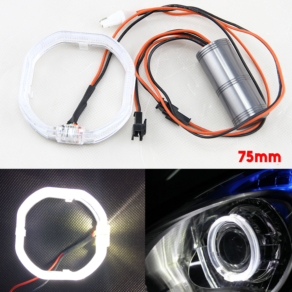 2pcs/pair 75mm Square Shape Light Guide Angel Eyes Daytime Running Lights 12V White for Cars Canbus LED Headlight Lamp