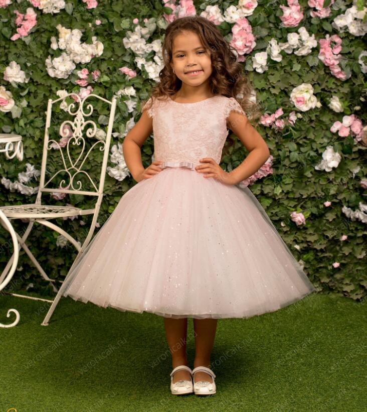 2018 Cute Flower Girl Dresses Cap Sleeves Baby Girl Birthday Party Christmas Communion Dresses Children Girl Party Dresses