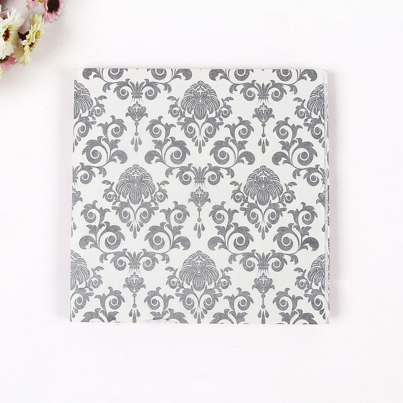 Food Grade Table Paper Napkins Tissue Flower Black White Vintage Printed Decoupage Hotel Wedding Party