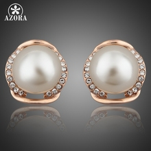 AZORA Rose Gold Color Stellux Austrian Rhinestone with Pearl Stud Earrings TE0051