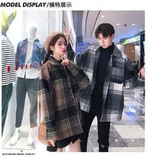 גברים ונשים של אופנה מעיל הסתיו הרופף בינוני ארוך בדק צמר מעיל.