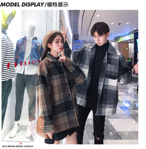 Image 1 - Mens and womens fashion coat in autumn loose  medium long checked woolen coat.