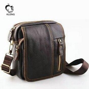 e1d4afd30143 KUJING кожаная мужская сумка высокого качества износостойкая Многоцелевая  сумка-мессенджер из качественной кожи для деловых поездок и отдыха