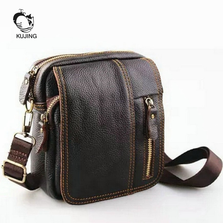 KUJING leather men bag high-quality wear-resistant multi-purpose Messenger bag high-grade leather business travel leisure packag