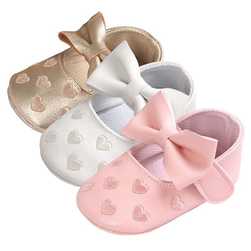 2017 New PU Leather Big Bow Embroidery Love Soft Bottom Kids ShoesNon-slip Baby Shoes Prewalkers Boots Newborn Babies Shoes  #D