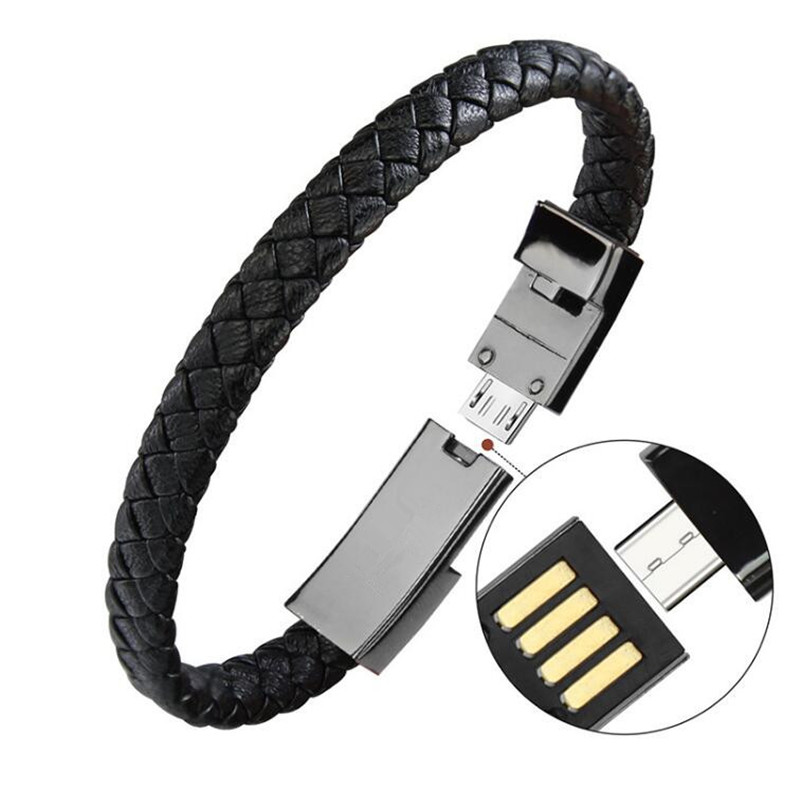 Wearable USB Charging Bracelet Leather Sports Bracelet Charger Phone Charging Cable Wire for iPhone X Type C Android Phone Cable in Mobile Phone Cables from Cellphones Telecommunications