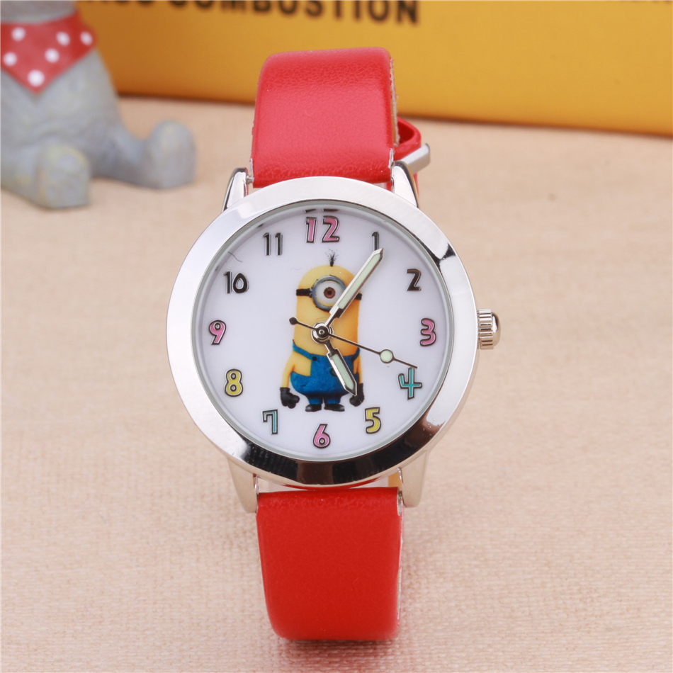 Cartoon Clock Kids Watches Fashion Cute Girls Children Watch Leather Quartz Wristwatches Christmas Birthday Gift Enfants Montre joyrox minions pattern children watch 2017 hot despicable me cartoon leather strap quartz wristwatch boys girls kids clock