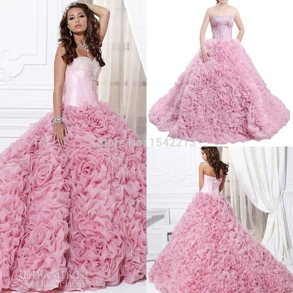 Best Selling Sweetheart Beaded Long Train Big Ball Gown Prom Dress ...