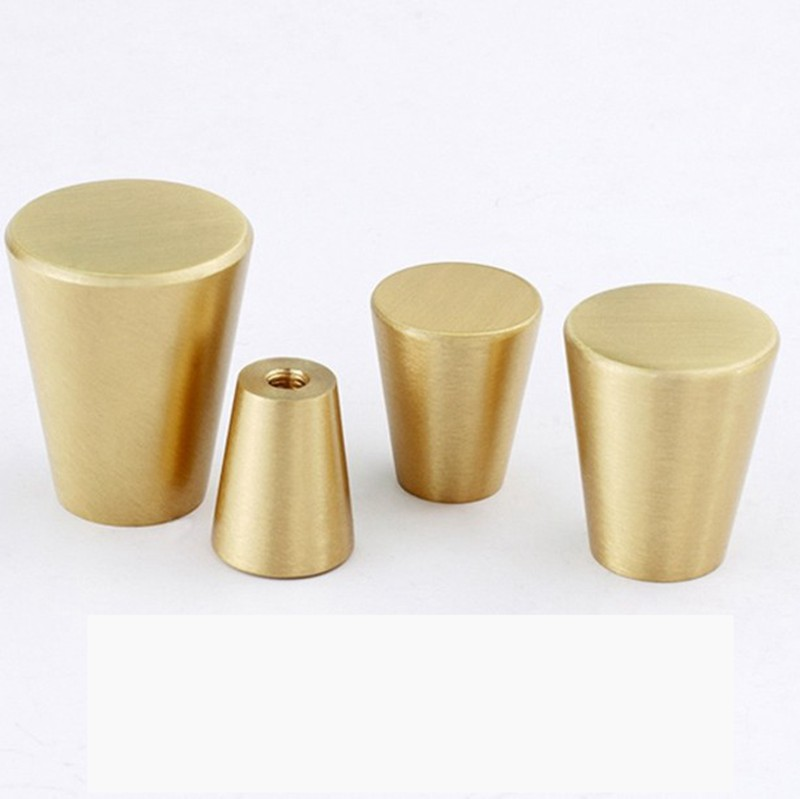 Brushed Solid Brass Kitchen Cabinet Drawer Knobs Nordic Furniture Cupboard Dresser Pulls 4Pack in Cabinet Knobs from Home Improvement