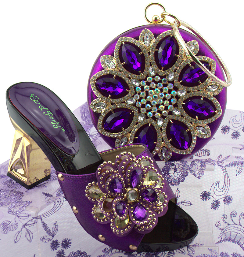Purple Color Italian Shoe with Matching Bags Shoe and Bag Set for Party In Women Italian Matching Shoe and Bag Set QSL001 hot glitter italy matching shoe and bag set with shinning stones with free shipping for party in sl08 size 39 43 red