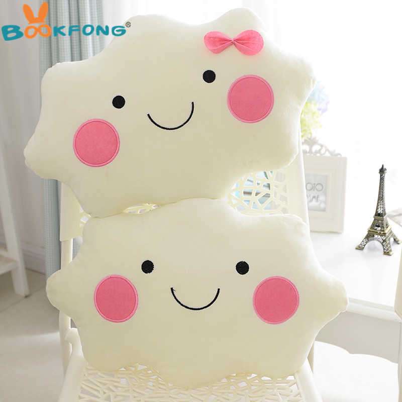 Kawaii soft Plush Smiley Face Bow Cloud pillow 100% Cotton Stuffed Back Cushion Seat Cushion Christmas gifts plush toy