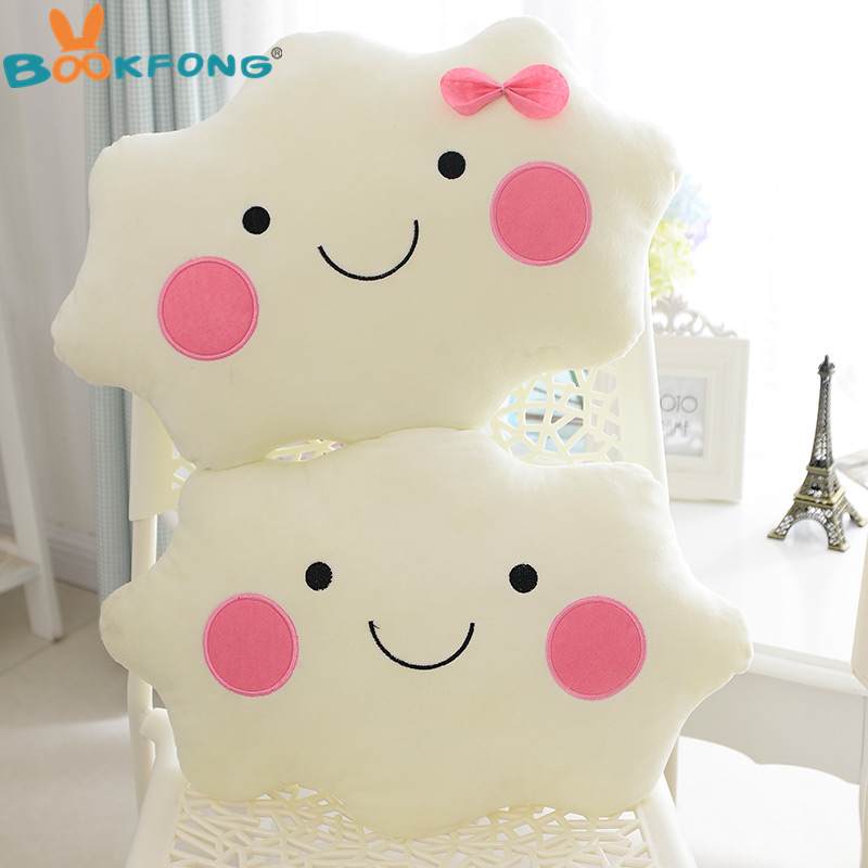 Kawaii soft Plush Smiley Face Bow Cloud pillow 100 Cotton font b Stuffed b font Back