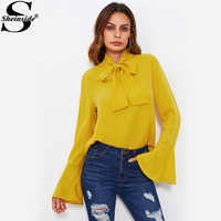 Sheinside Bow Tied Neck Bell Cuff Curved Hem Blouse Women Yellow Flare Sleeve Tops 2017 Office