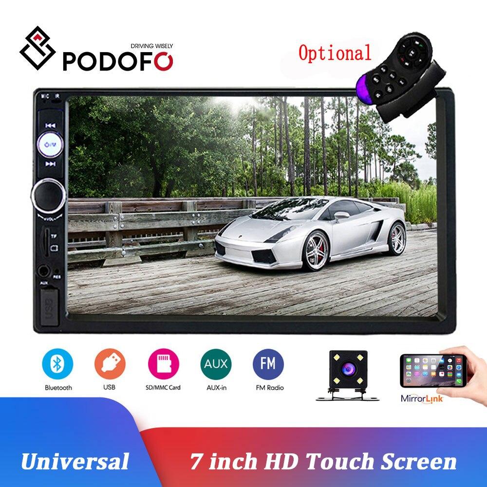 Podofo 2 Din Car Radio 7 Bluetooth Estéreo reproductor Multimedia Autoradio MP3 MP5 pantalla táctil Auto Radio soporte trasero cámara de vista