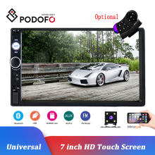 "Podofo 2 Din Car Radio 7 ""Bluetooth Estéreo reproductor Multimedia Autoradio MP3 MP5 pantalla táctil Auto Radio soporte trasero cámara de vista(China)"