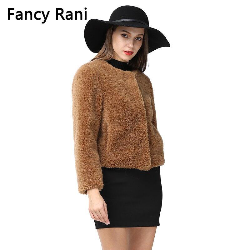 Court Réel Fourrure Camel Nouvelle Survêtement Laine Hiver Manteaux Épais Veste De Plus Manteau Souple Femmes Chaud Taille Mode 5xl Style Teddy xvtBgBqd