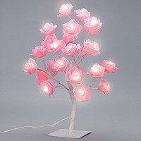 Table Lamp Rose Tree Lamp with AC Adapter Flexible Pink Flower Desk Lamp Bedside Lamp Tree Light for Party Bedroom Living Room