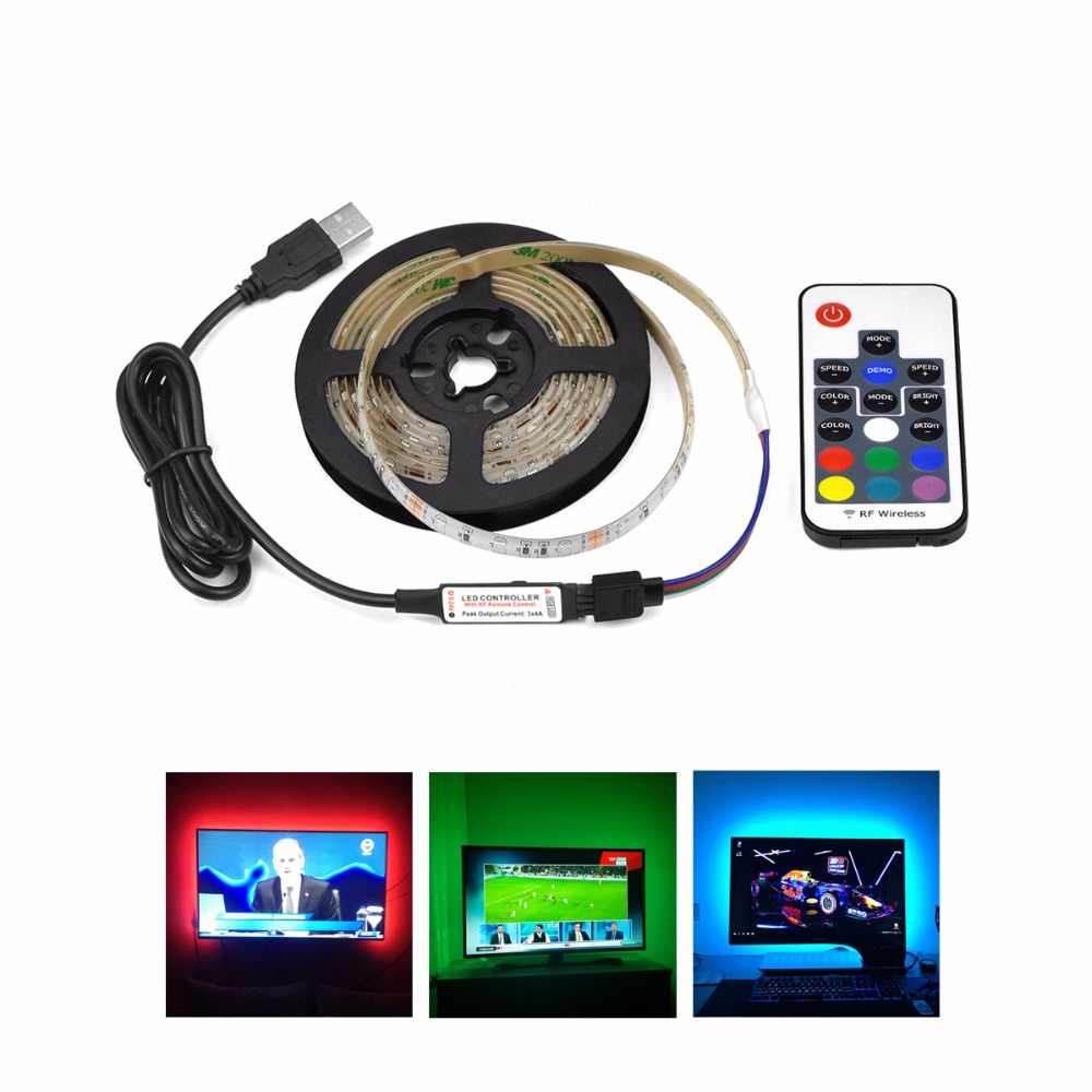Aimengte SMD3528 TV/PC Latar Belakang USB Powered LED Strip 0.5 M/1 M/2 M/3 m/4 M/5 M DC5V Anti Air Fleksibel Pita Perekat