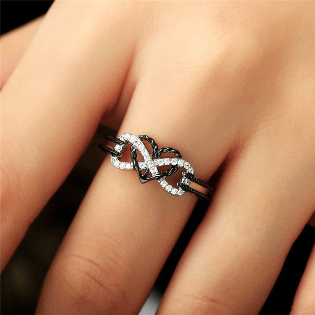 BOAKO Fashion Wedding Band Engagement Ring CZ Love Two Colors Heart ...
