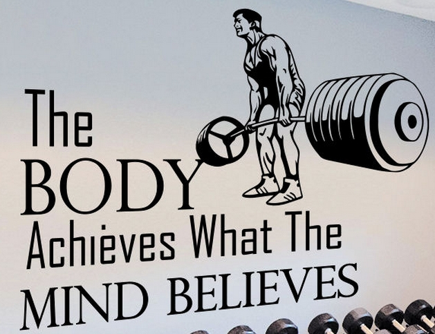 Gym vinyl wall decal quotes sport the body achieves