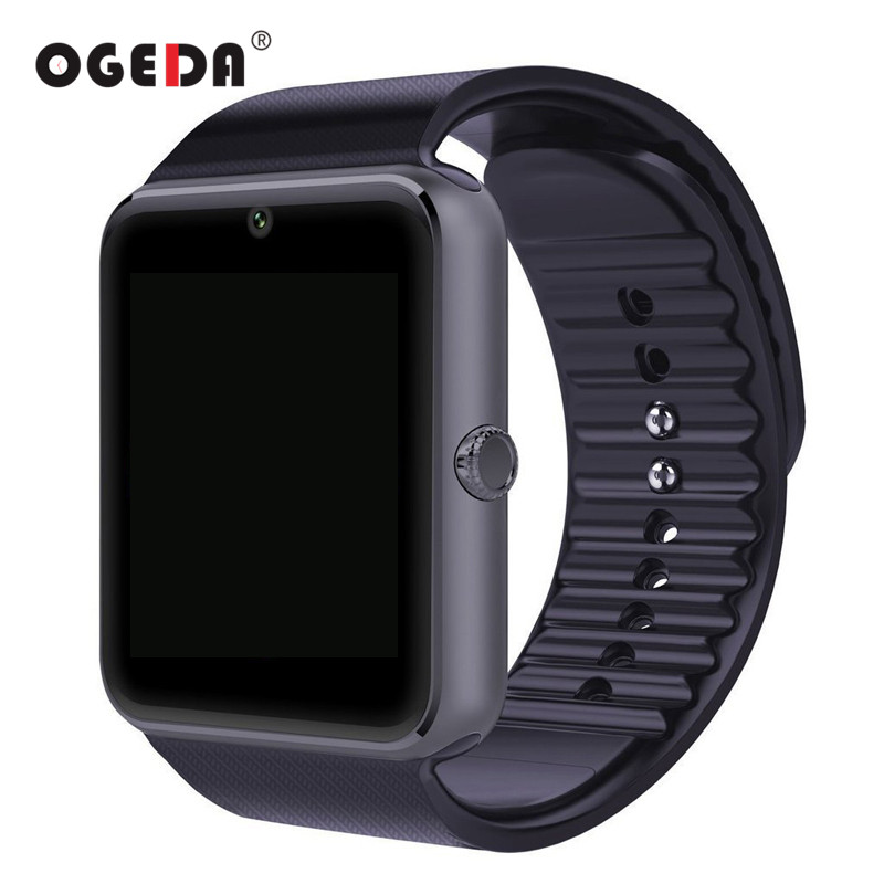 OGEDA Smart Watch Men GT08 Clock Sync Notifier Support Sim Card Bluetooth Connectivity for IOS Android Smartwatch Rubber Watch
