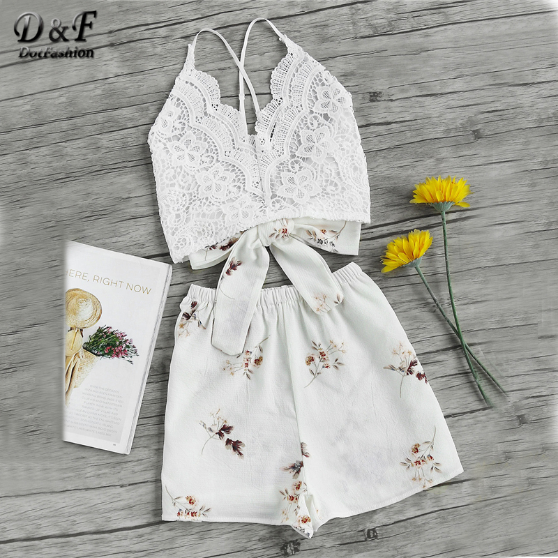 Dotfashion Floral Lace Sexy Two Piece Set Women Cross Bow Tie Back Cami Top With Shorts 2018 Summer Holiday Crop 2 Piece Sets one button design longline woolen coat page 6