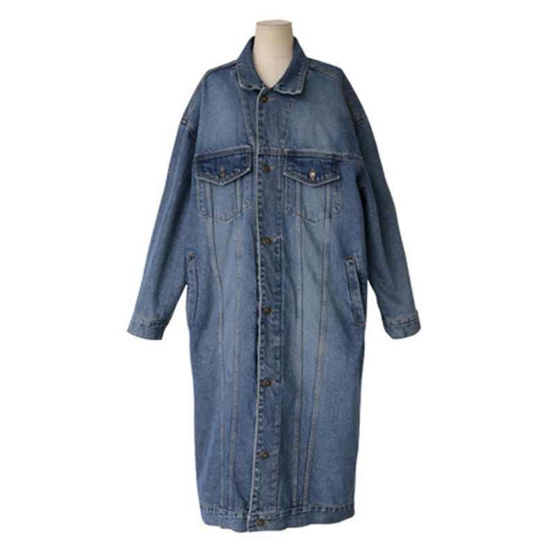 L-4XL 2018 Новая Осенняя Женская Повседневная модная свободная длинная джинсовая куртка Макси дизайнерские джинсы кардиган пальто Верхняя одежда Feminino