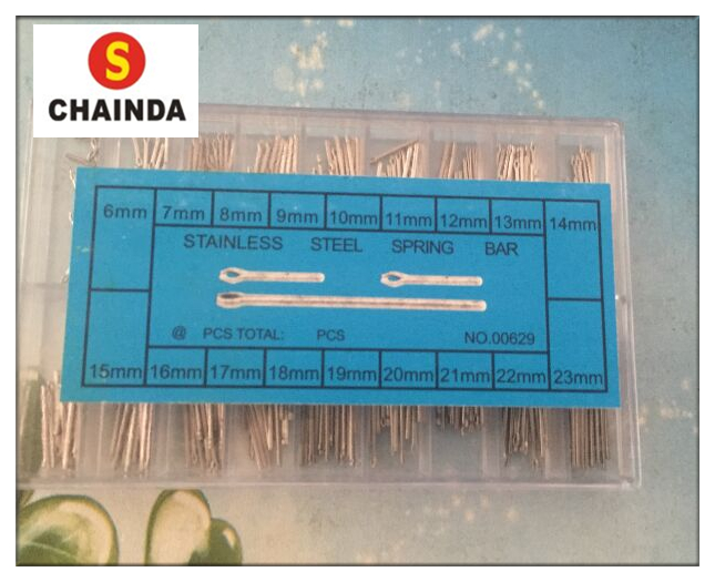 Free Shipping 360pcs Assorted Stainless Steel Length Split Pins Boxset for Watch+1pc Free Cleaning Cloth free shipping 1pc large tube stainless steel gold waterproof watch crown and tube for watch repair